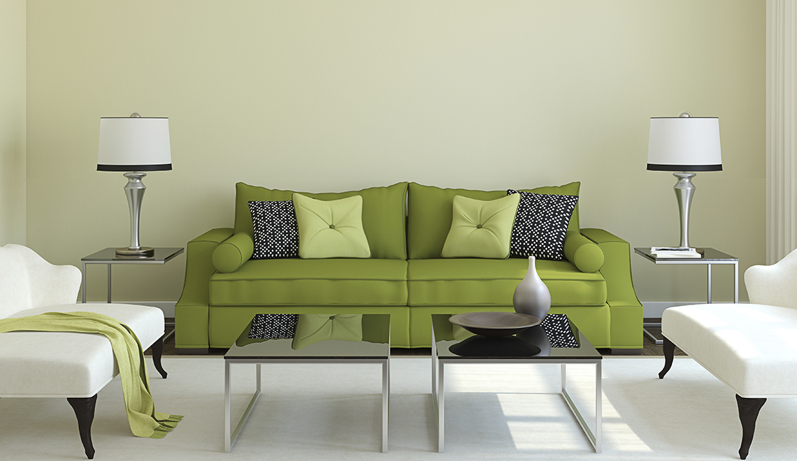 Modern living-room interior with green couch.3d render.