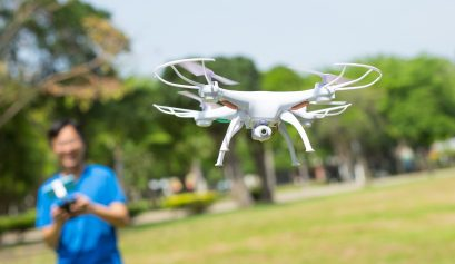 Flying a drone (gadgets)